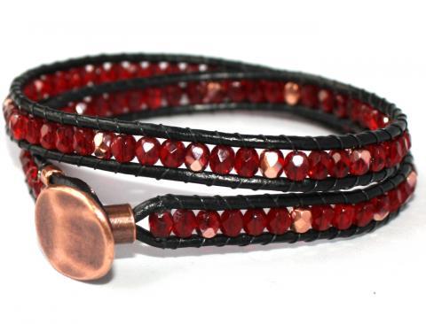 Wraparmband 2 varv rött och koppar